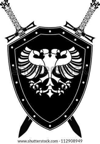 heraldic eagle and swords. raster variant - stock photo