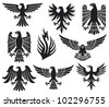 heraldic eagle set (eagle silhouettes, heraldic design elements, eagles collection) - stock vector