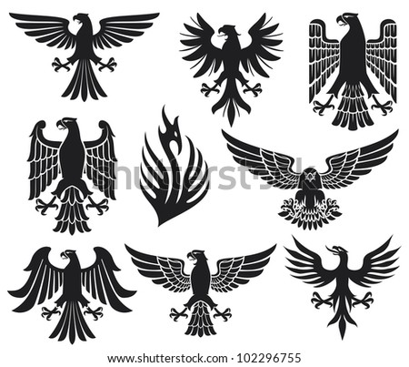 heraldic eagle set (eagle silhouettes, heraldic design elements, eagles collection) - stock photo