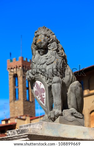 Heraldic lion near Palazzo Vecchio. Florence. Italy. - stock photo