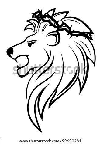 Heraldic lion with thorny wreath for heraldry design, such  a logo. Vector version also available in gallery - stock photo