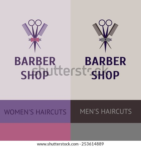 heraldic logo for a hairdressing salon. Business card and banner. Template for corporate style barbershop. Status and elegance. barbershop for men and women. - stock photo