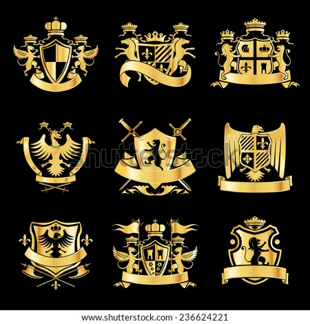 Heraldic royal art symbols decorative emblems golden set with griffin swords and ribbons isolated  illustration - stock photo