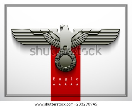 heraldry eagle wings vector Imperial isolated silhouette oak wreath parteiadler  power force strength vigour greatness silver glossy freedom captain protect war badge patriotic army sticker Abwehr - stock photo