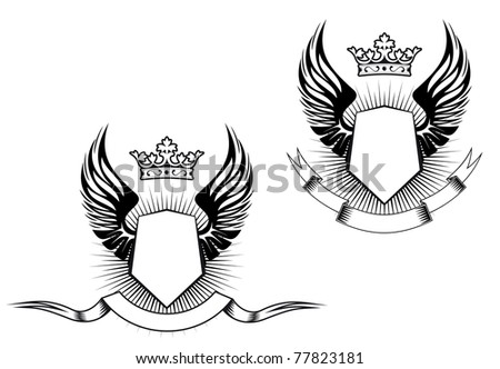 Heraldry elements with wings and ribbons for design, such a logo. Vector version also available in gallery - stock photo