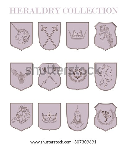Vector Heraldry Emblem Collection Coat Arms Stock Vector 274391603