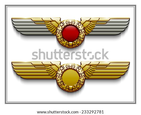 heraldry wings Illustration background - stock photo