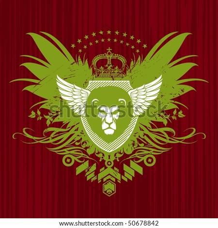 Heraldry with lion head - stock photo