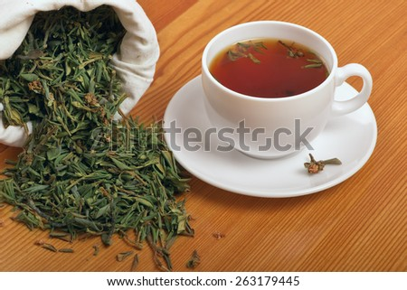 Herb and healing of tea with Rhododendron adamsii - stock photo