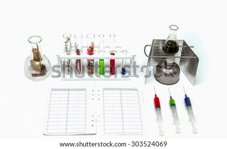 Herb and medical for science on white background. - stock photo