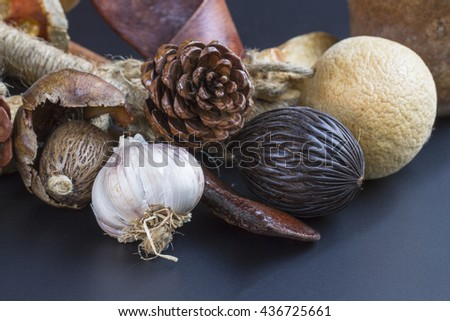 Herb and raw food background. with copy space. selective focus - stock photo