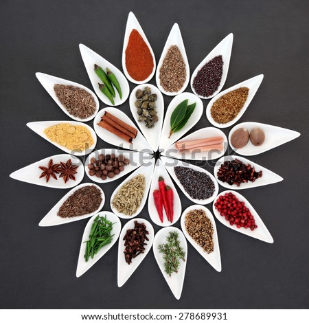 Herb and spice seasoning selection in porcelain bowls over slate background. - stock photo