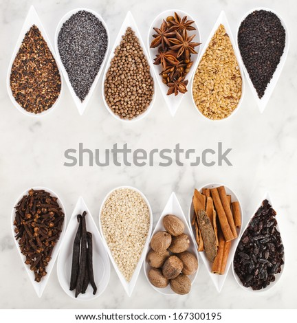 Herb and spice selection in white porcelain dishes over marble background - stock photo