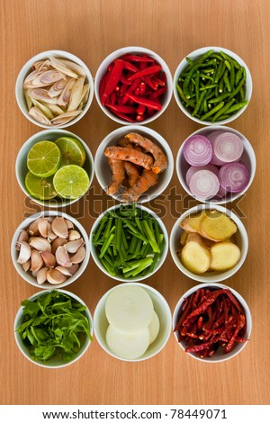 herb and spicy ingredients for making Thai food - stock photo