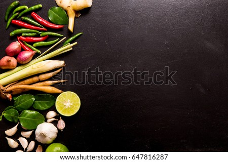 Herb spicy ingredients making thai food stock photo edit now herb and spicy ingredients for making thai food or tomyam recipe book with fresh herbs forumfinder Choice Image