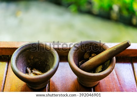 Herb and spicy ingredients of thai medicine on mortar - stock photo