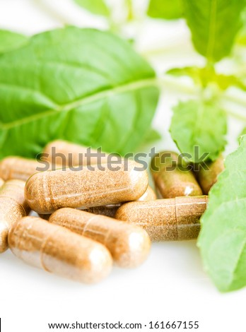 Herb capsule with green leaf - stock photo