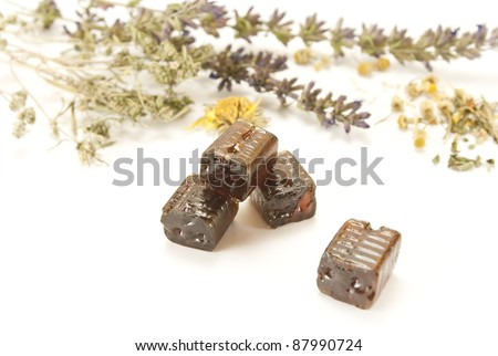 herb cough drops - stock photo