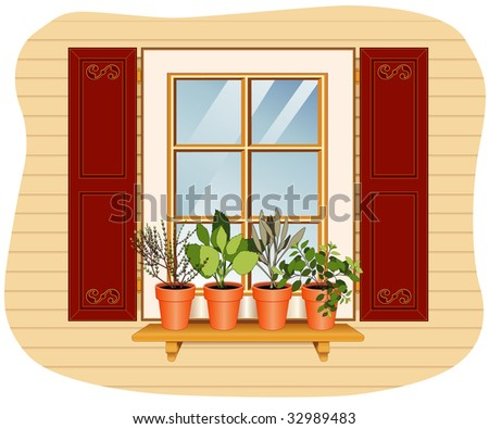 Herb Garden on the Windowsill: English Thyme, Sweet Basil, Garden Sage and Italian Oregano plants in clay flower pots on wooden shelf, red shuttered window.