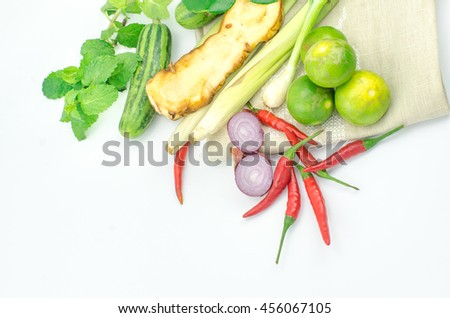 Herb ingredient of Tom Yum spicy soup Traditional Thai food