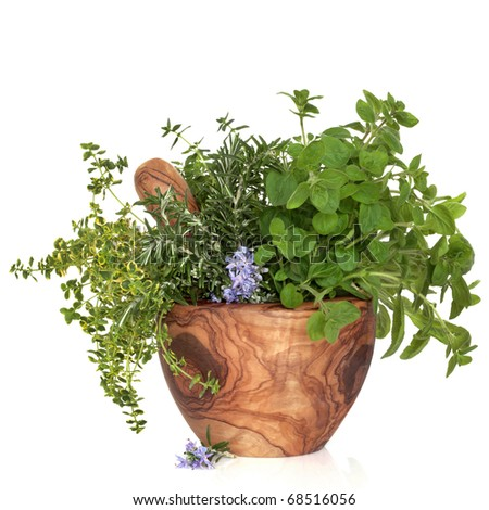 Herb leaf selection of thyme, sage, oregano and rosemary flowers in an olive wood mortar with pestle, isolated over white background. - stock photo