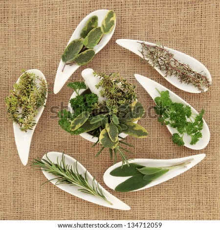 Herb leaf sprigs pf parsley, sage, rosemary and thyme  in white porcelain dishes and a mortar with pestle over hessian background. - stock photo