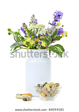 Herb plants with mix of alternative medicine herbal supplements and pills - stock photo