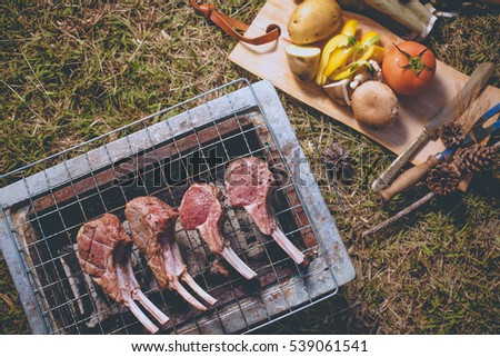 Herb seasoning Lamb rack and beef grilled on charcoal stove outdoor on the grass ground with kitchen equipment knife and fork.