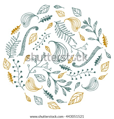 Herbal background with leaves and dried figs. Raster copy. - stock photo