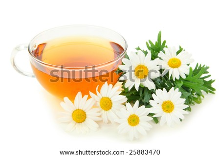 Herbal camomile tea isolated on white background