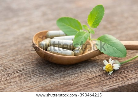 Herbal capsules from holy basil. herbal for healthy living.  - stock photo