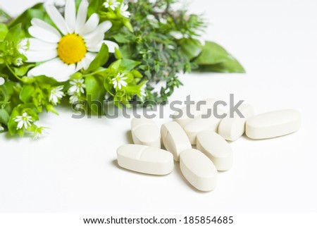 herbal flowers and modern medicines - stock photo