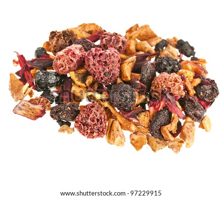 herbal fruit tea with petals and dry berries isolated on white background