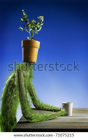 Herbal guy sitting at a table with a cup of water. Flower Pot instead of a head - stock photo