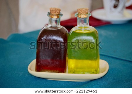 Herbal liqueur and pacharan.Typical  Digestive beverages in Spain - stock photo