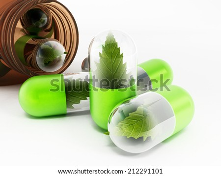 Herbal medicine concept with leaves inside pills. - stock photo