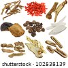 Herbal medicine : Dried Chinese herbs isolated on white background (Achyranthes root, Wolfberry, Bai Zhu, Tangerine peels, Cardamom, Chinese yam, Ginseng, Kaffir lime & citrus peels, Bitter orange) - stock photo