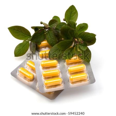 herbal medicine isolated on white background - stock photo