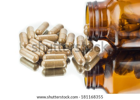 herbal medicine pill capsules - stock photo