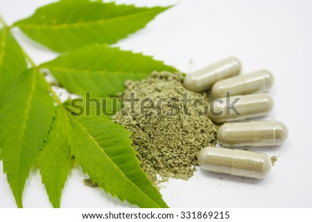 herbal medicine powder and capsules with green organic herb leaves - stock photo
