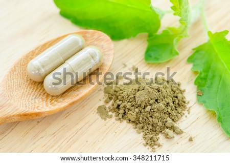 herbal medicine powder and capsules with green organic herb leaves on wooden background. - stock photo