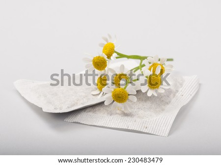 Herbal medicine series: Chamomile flowers and teabags on white background - stock photo