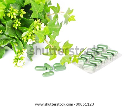 herbal medicine with green plant - stock photo