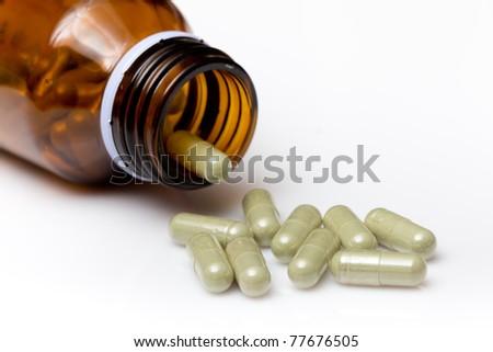 herbal pills - stock photo