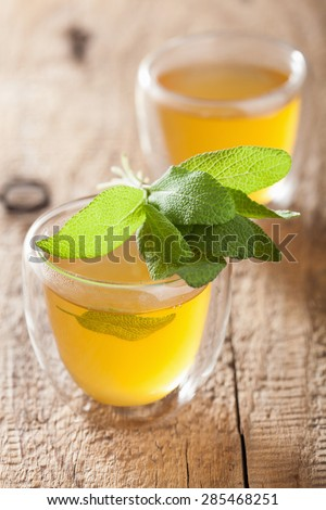 herbal sage tea with green leaf in glass cup - stock photo