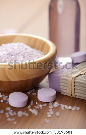 herbal salt and soap. spa and body care background