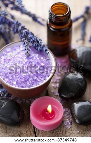 herbal salt lavender and spa stones - stock photo