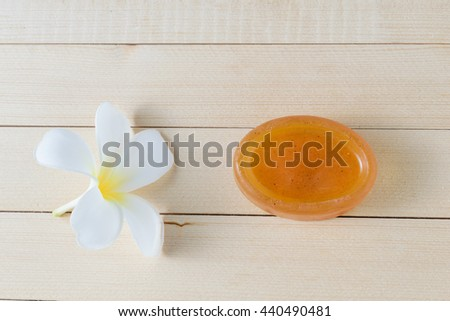 Herbal Soap with frangipani flower - stock photo