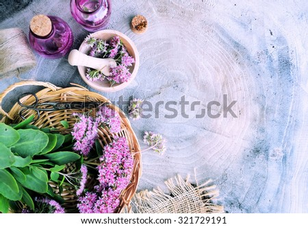 herbal spa, on a wooden background, bio product - stock photo