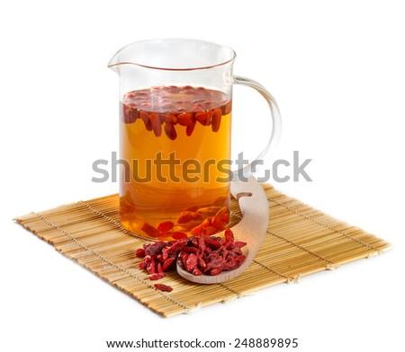 Herbal tea from goji berries - stock photo